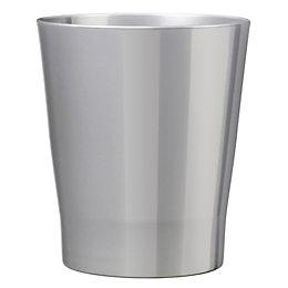 Merina Glazed Silver Gloss Plant Pot (H)27cm (Dia)28cm