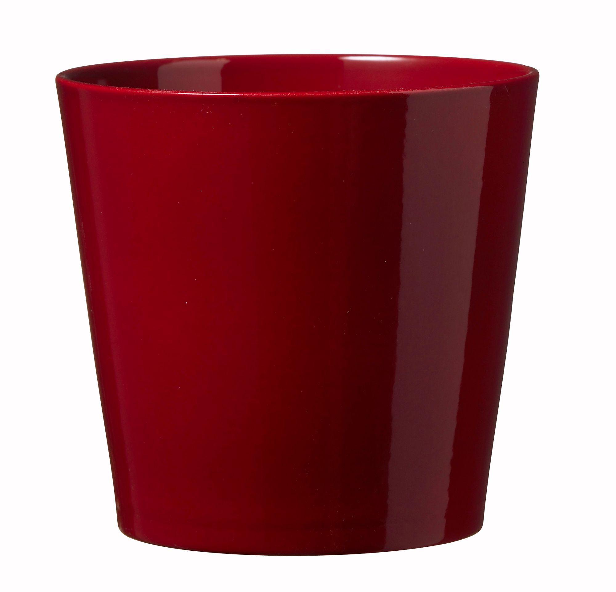 Dallas Glazed Red Gloss Plant Pot H 150mm Dia 160mm