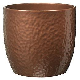 Boston Round Ceramic Brown Copper effect Plant pot