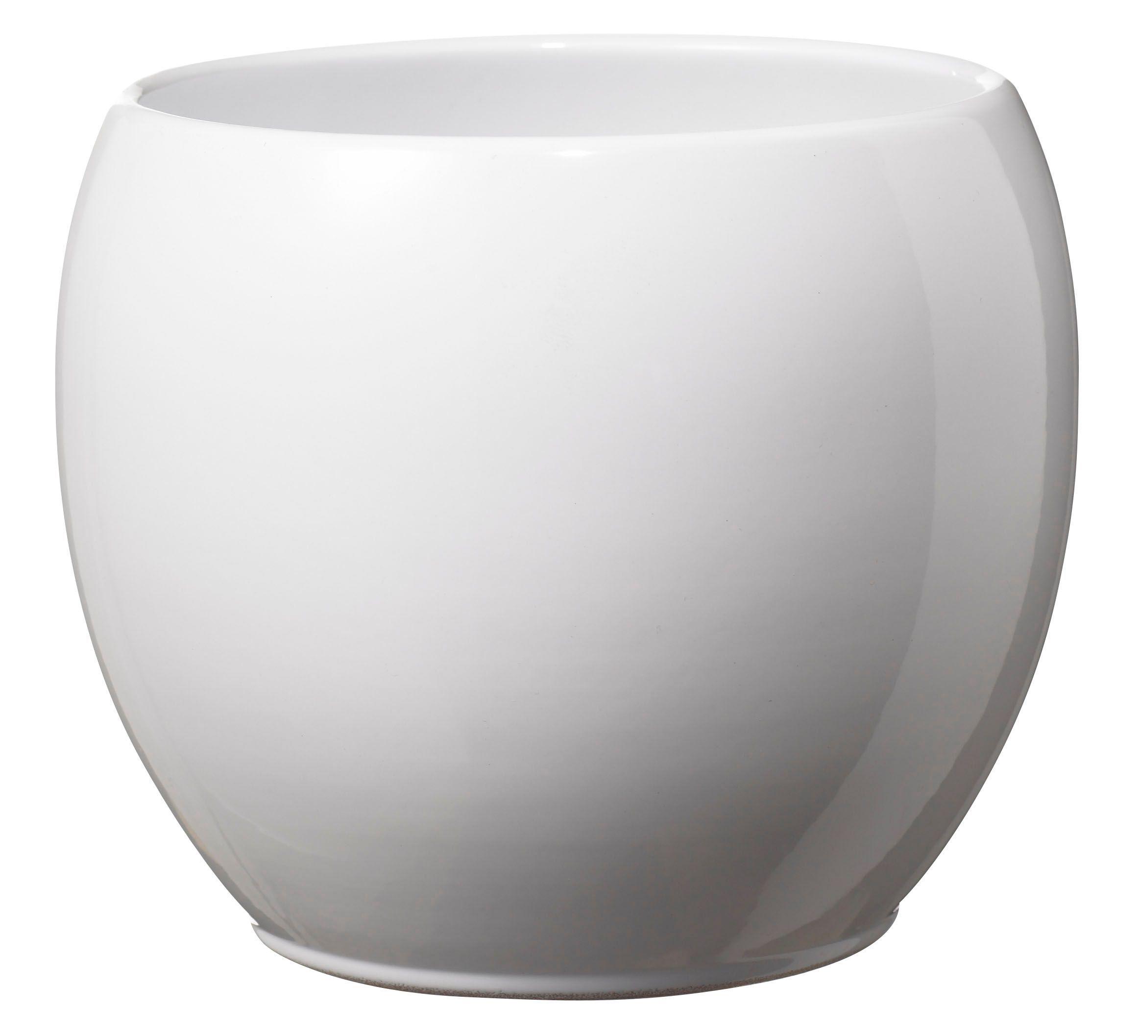 Alberta Round Ceramic White Plant Pot H 130mm Dia 150mm