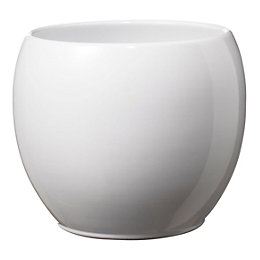 Alberta Round Ceramic White Plant pot (H)130mm (Dia)150mm