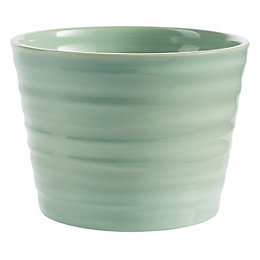 Kopenhagen Round Ceramic Green Plant pot (H)120mm (Dia)160mm