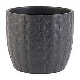 Kiruna Round Ceramic Black Plant Pot (H)12cm (Dia)14cm