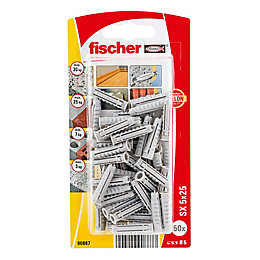 Fischer Nylon Solid wall plug, Pack of 50