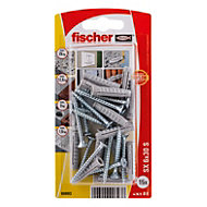 Fischer Nylon plug (Dia)6mm (L)30mm, Pack of 15