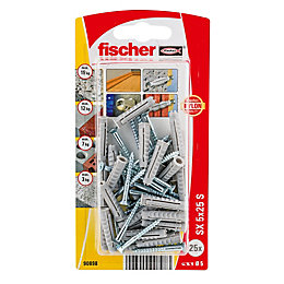Fischer Nylon Solid Wall Plug, Pack of 25