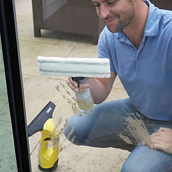 Man cleaning windows