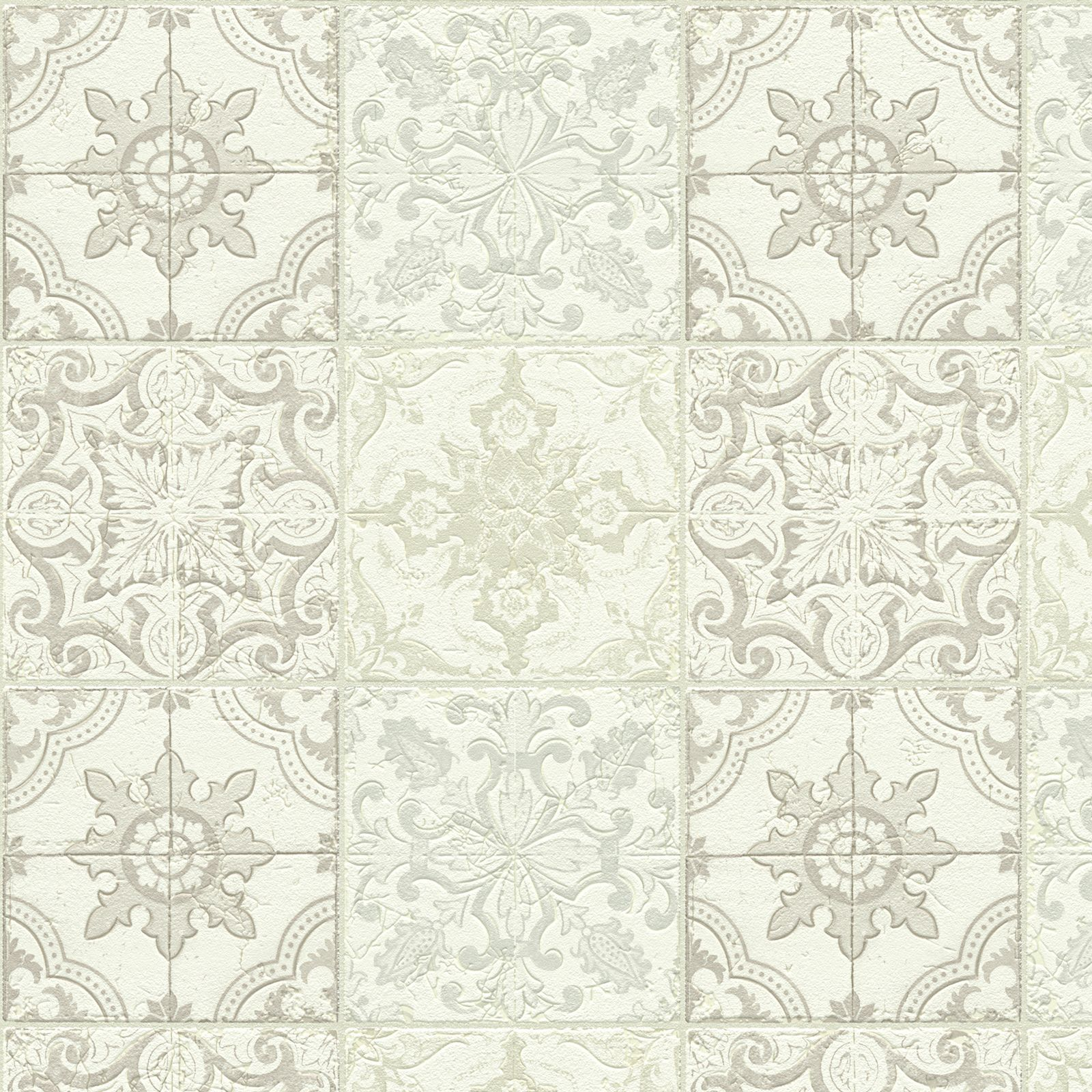 Kitchen Wallpaper At B Q: A.S. Creation Chatsworth Beige, Cream & White Mosaic Tile