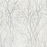 A.S. Creation Life 4 White Tree Metallic Wallpaper
