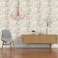 A.S. Creation Xray Beige & cream Leaf Pearl finish Wallpaper