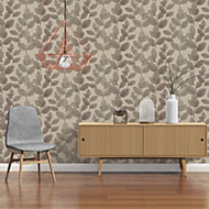 A.S. Creation Xray Beige & brown Leaf Pearl finish Wallpaper