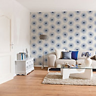 A.S. Creation Xray White & blue Floral Pearl finish Wallpaper