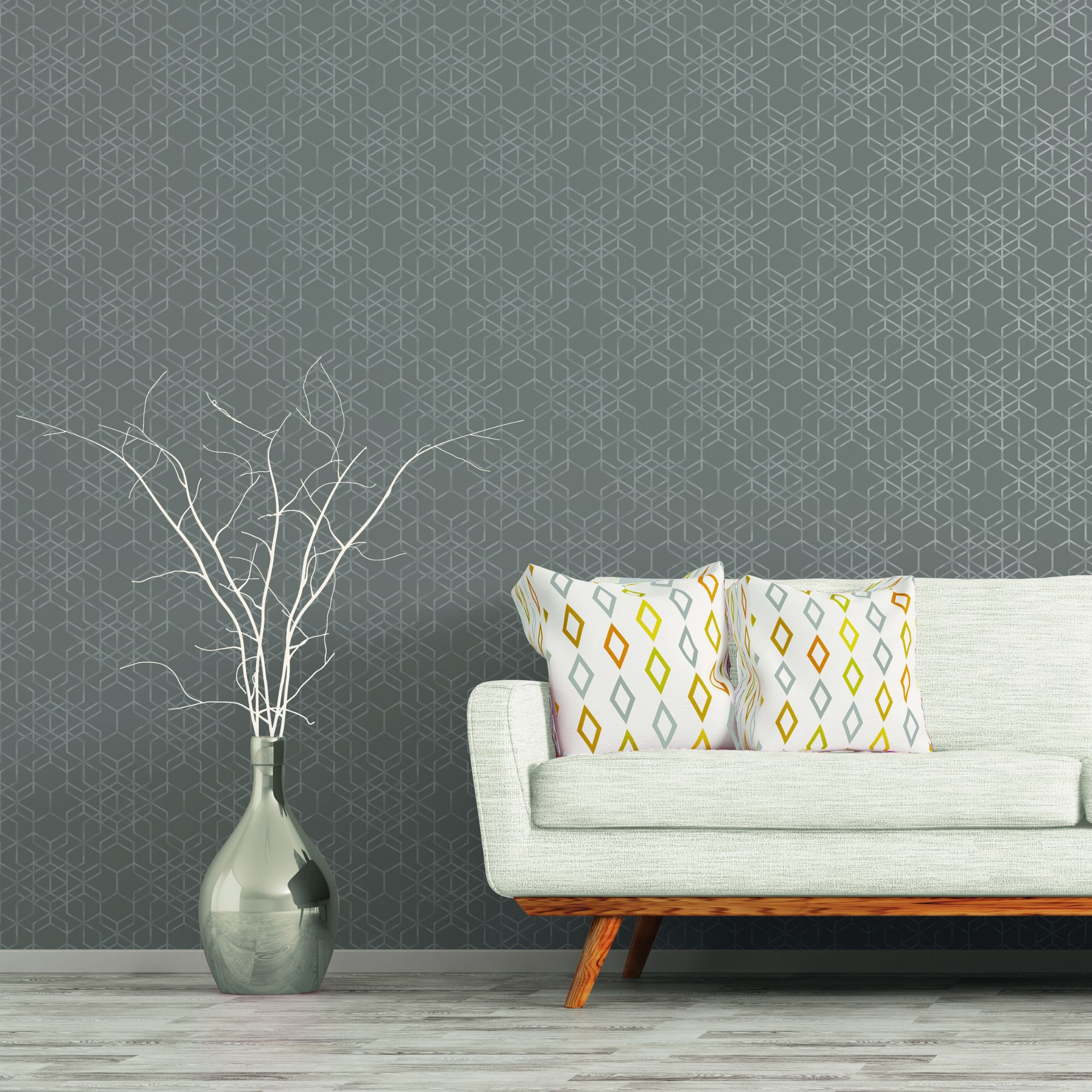 A.S. Creation Bjorn Grey Geometric Metallic Wallpaper