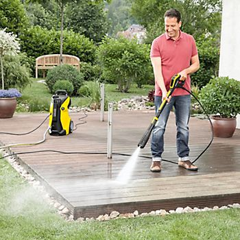 Using a Karcher full control plus pressure washer on patio