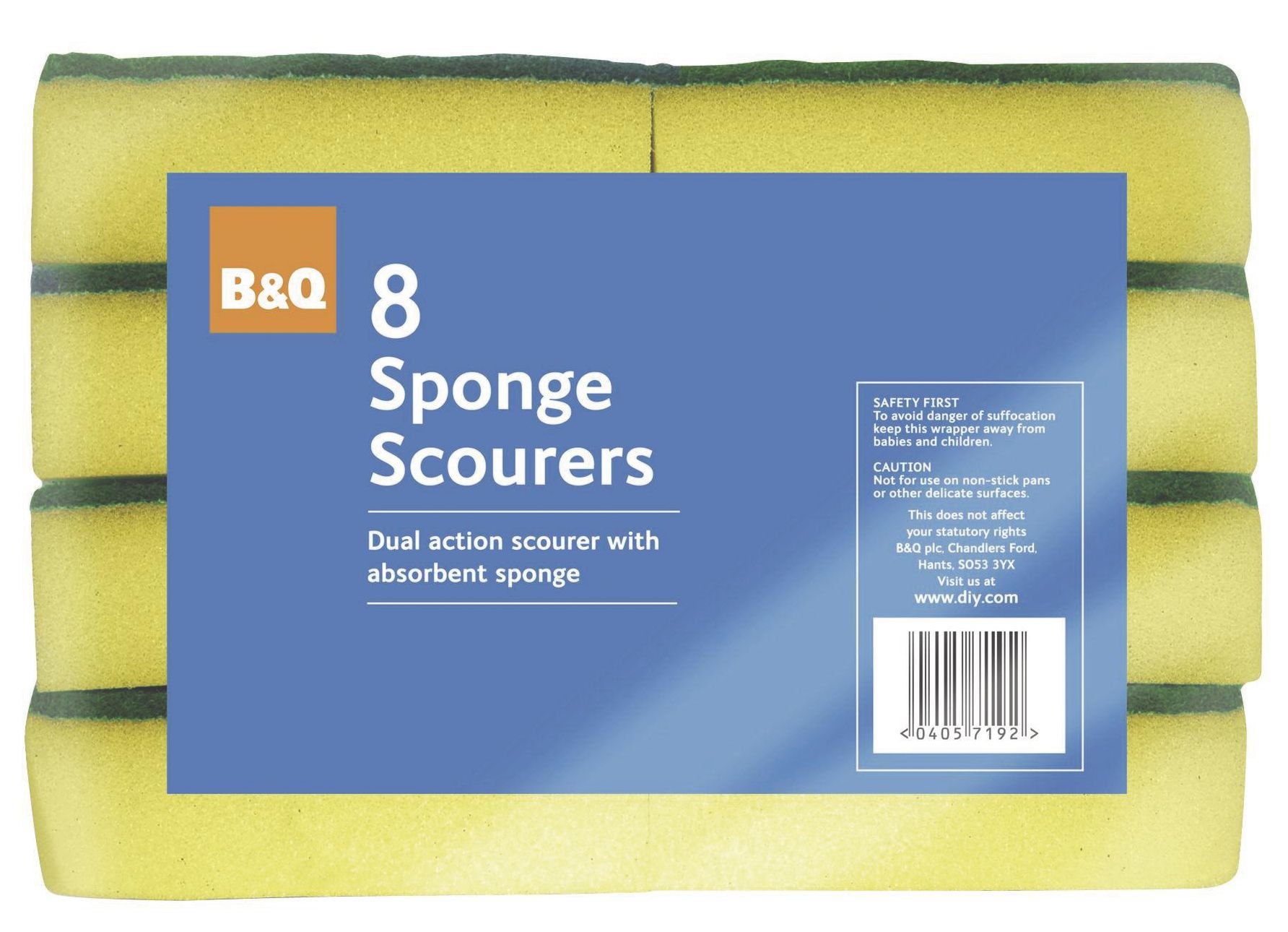 B&Q Foam & scouring fibre Scourer sponge, Pack of 8 | Departments ...