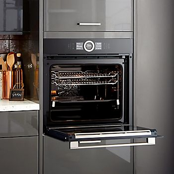 Built-in single oven with open door