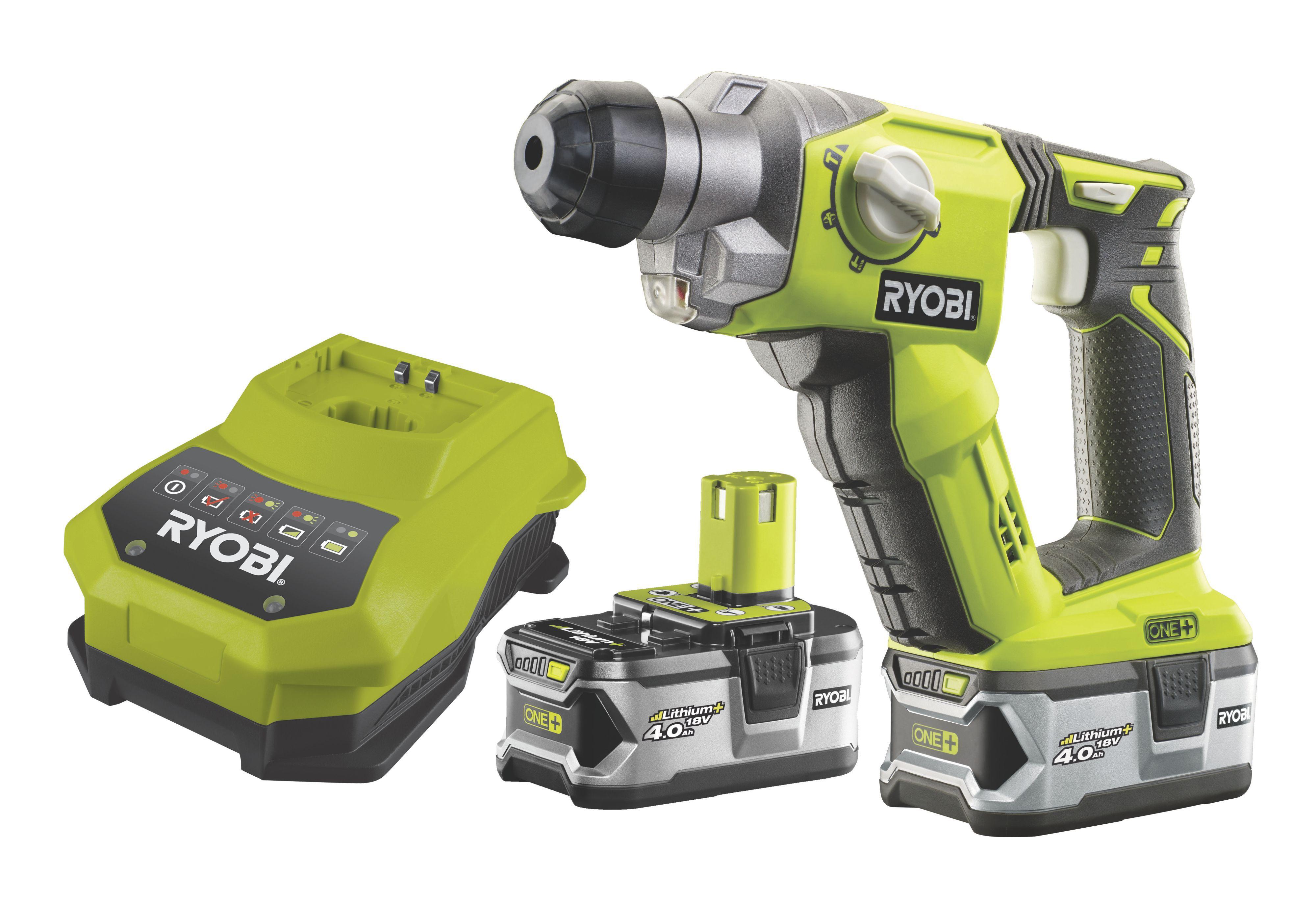 Ryobi One+ Cordless 18V 4Ah Li-ion SDS plus drill 2 batteries R18SDS-LL40S  | Departments | DIY at B&Q
