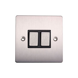 Holder 10A 2-Way Double Brushed Steel Light Switch