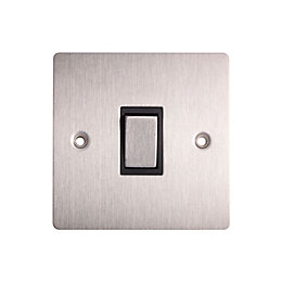 Holder 10A Single Brushed Steel Intermediate Switch