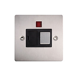 Holder 13A Single Brushed Steel Fused Spur Switch