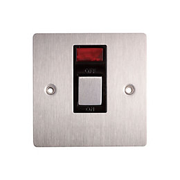 Holder 20A Single Brushed Steel Switch with Neon