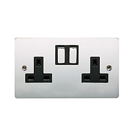 Holder 13A Polished chrome Switched Double Socket
