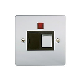 Holder 13A Single Polished chrome Fused spur switch