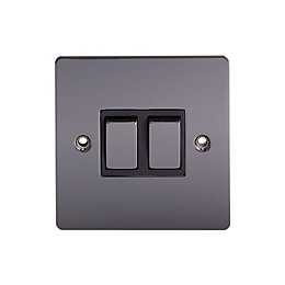 Holder 10A 2-Way Double Black nickel Light switch