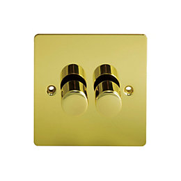 Holder 2-Way Double Polished Brass Dimmer Switch
