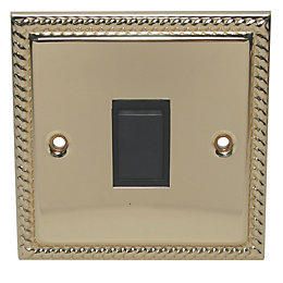 Holder 10A 2-Way Single Polished Brass & Gold