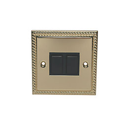 Holder 10A 2-Way Double Polished Brass & Gold