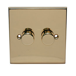 Holder 2-Way Single Polished Brass & Gold Effect