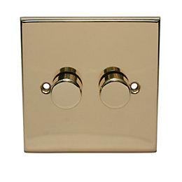 Holder 2-Way Single Polished Brass & Gold Effect
