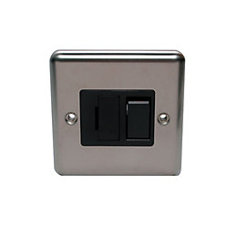 Volex 13A Double pole Brushed stainless steel effect