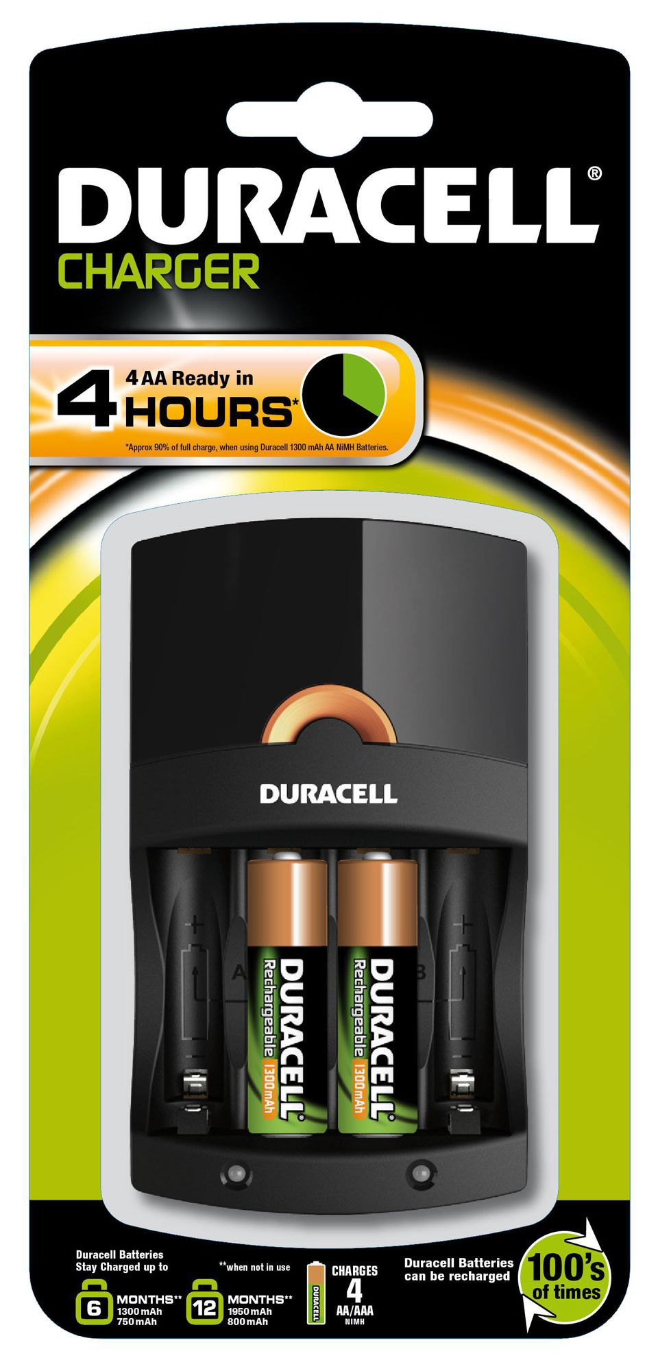 duracell 4 hours battery charger departments diy at b q. Black Bedroom Furniture Sets. Home Design Ideas