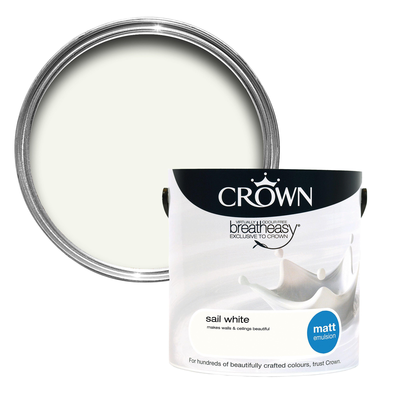 Crown Breatheasy Sail white Matt Emulsion paint 2 5L | Departments | DIY at  B&Q