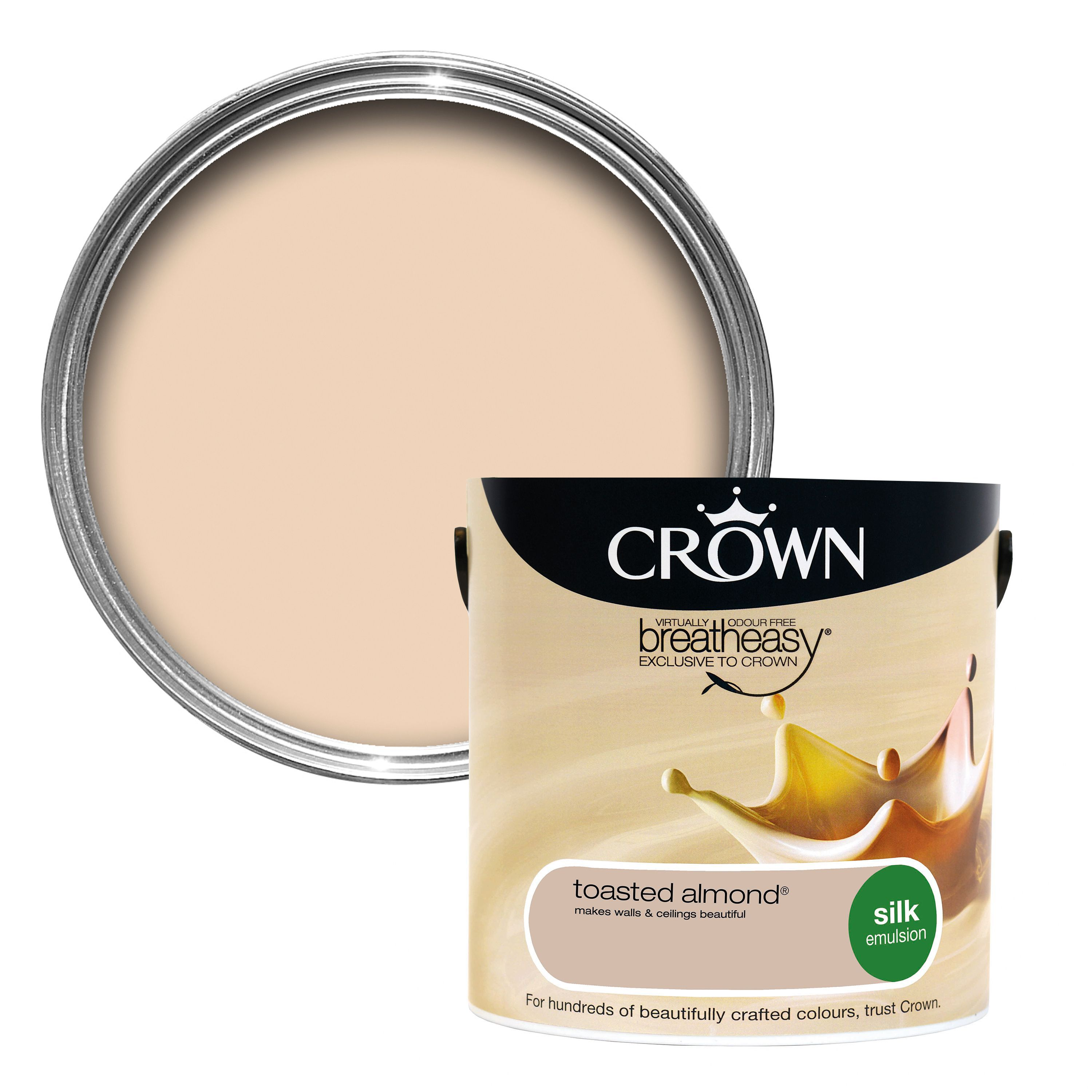 Crown Breatheasy Toasted Almond Silk Emulsion Paint 2 5l Departments Diy At B Amp Q