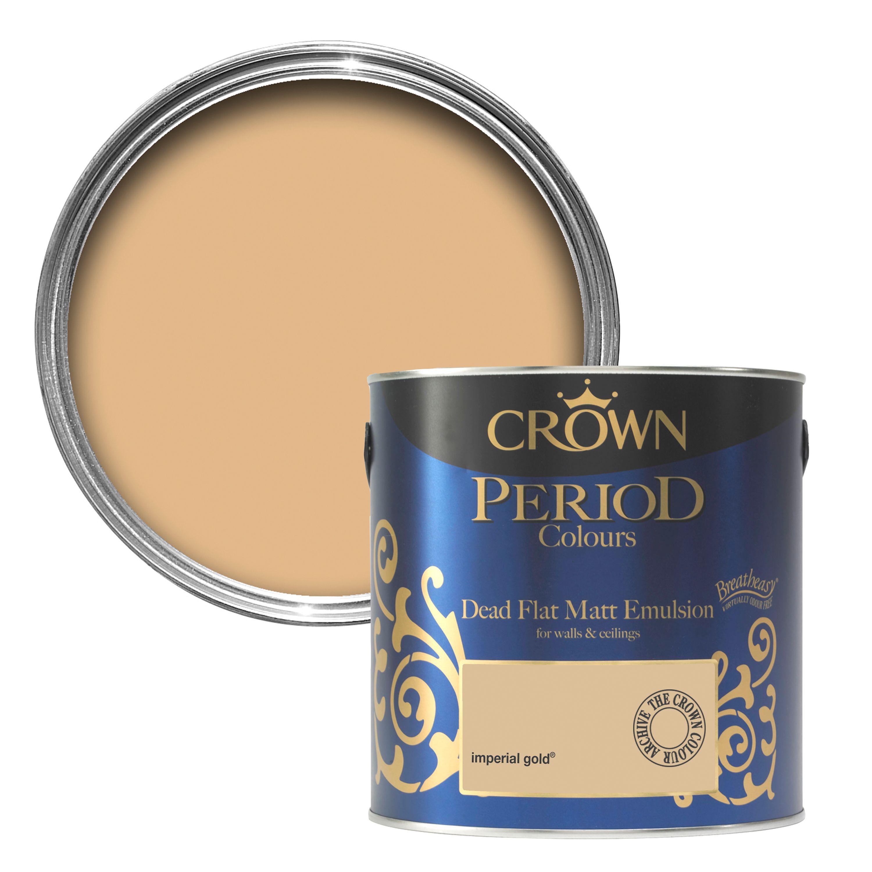 Crown Breatheasy Imperial gold Matt Emulsion paint 2 5 L   Departments    DIY at B&Q