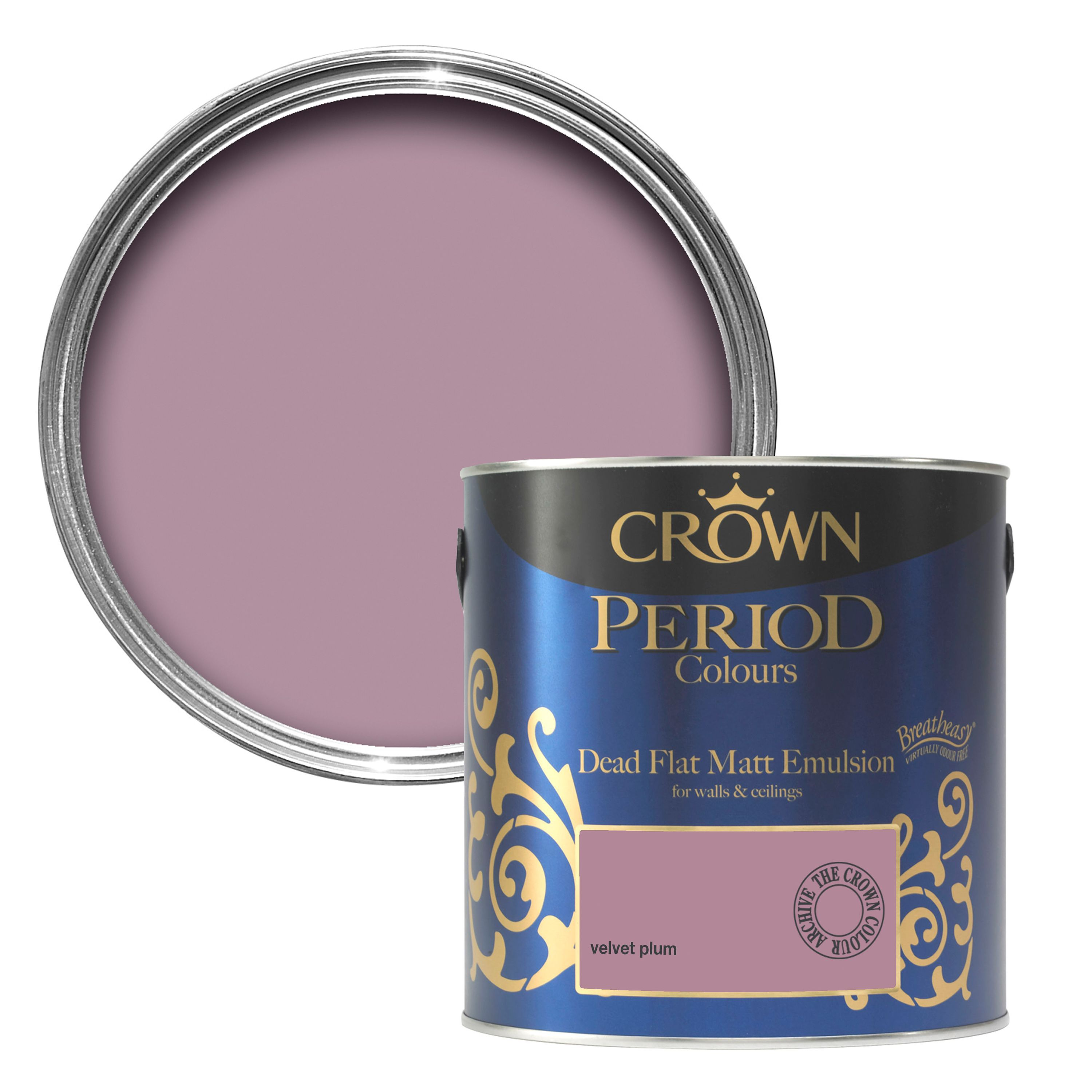 Plum Kitchen Paint: Crown Breatheasy Velvet Plum Matt Emulsion Paint 2.5L
