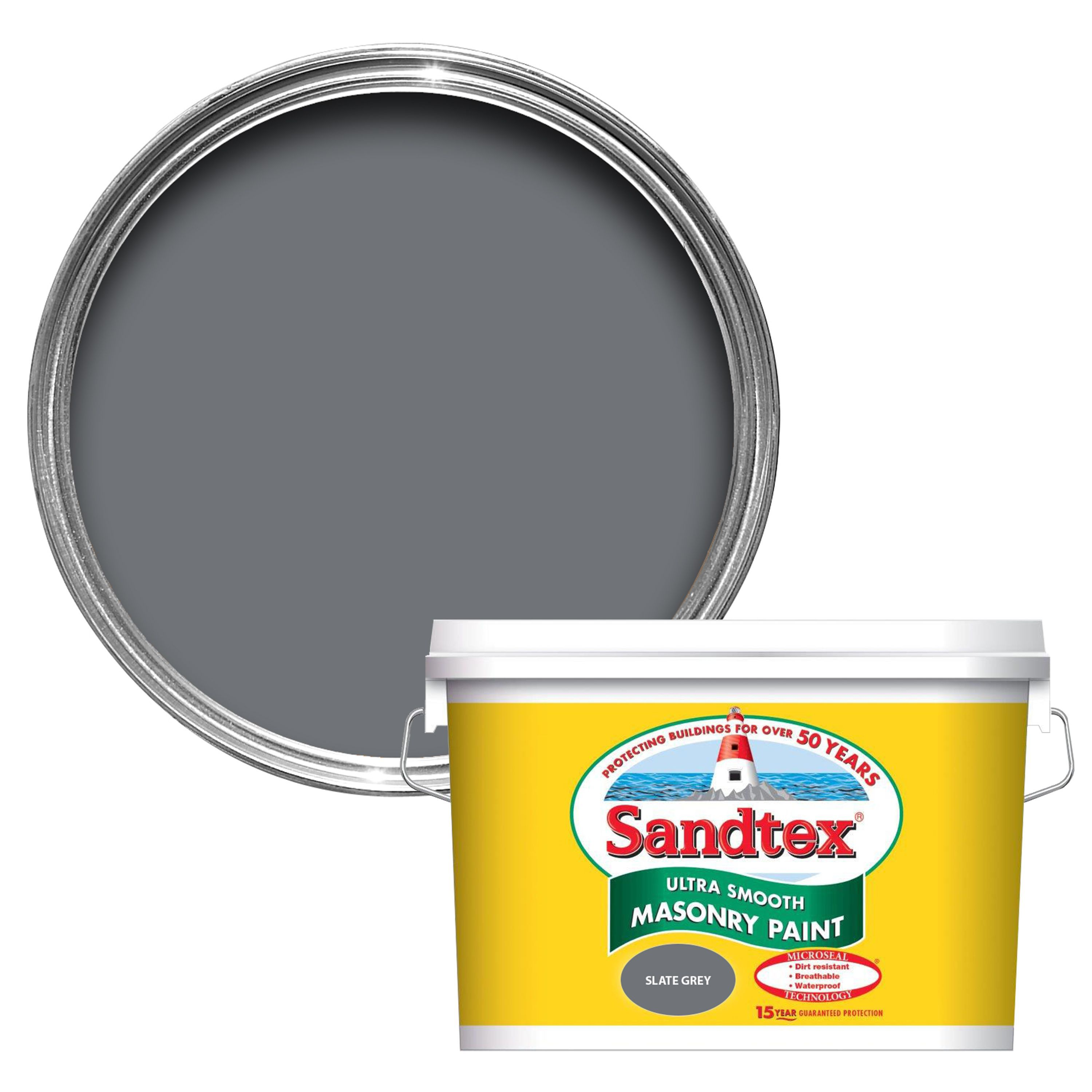 Sandtex Slate Grey Smooth Masonry Paint 10l Departments Diy At B Q