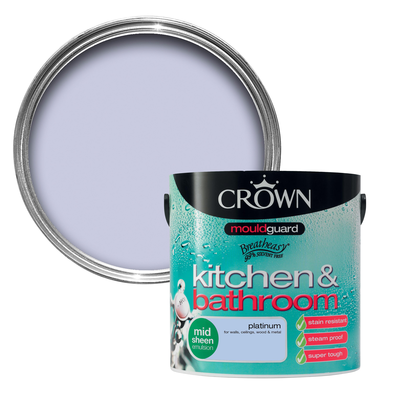 Crown Kitchen & Bathroom Platinum Mid Sheen Emulsion Paint ...