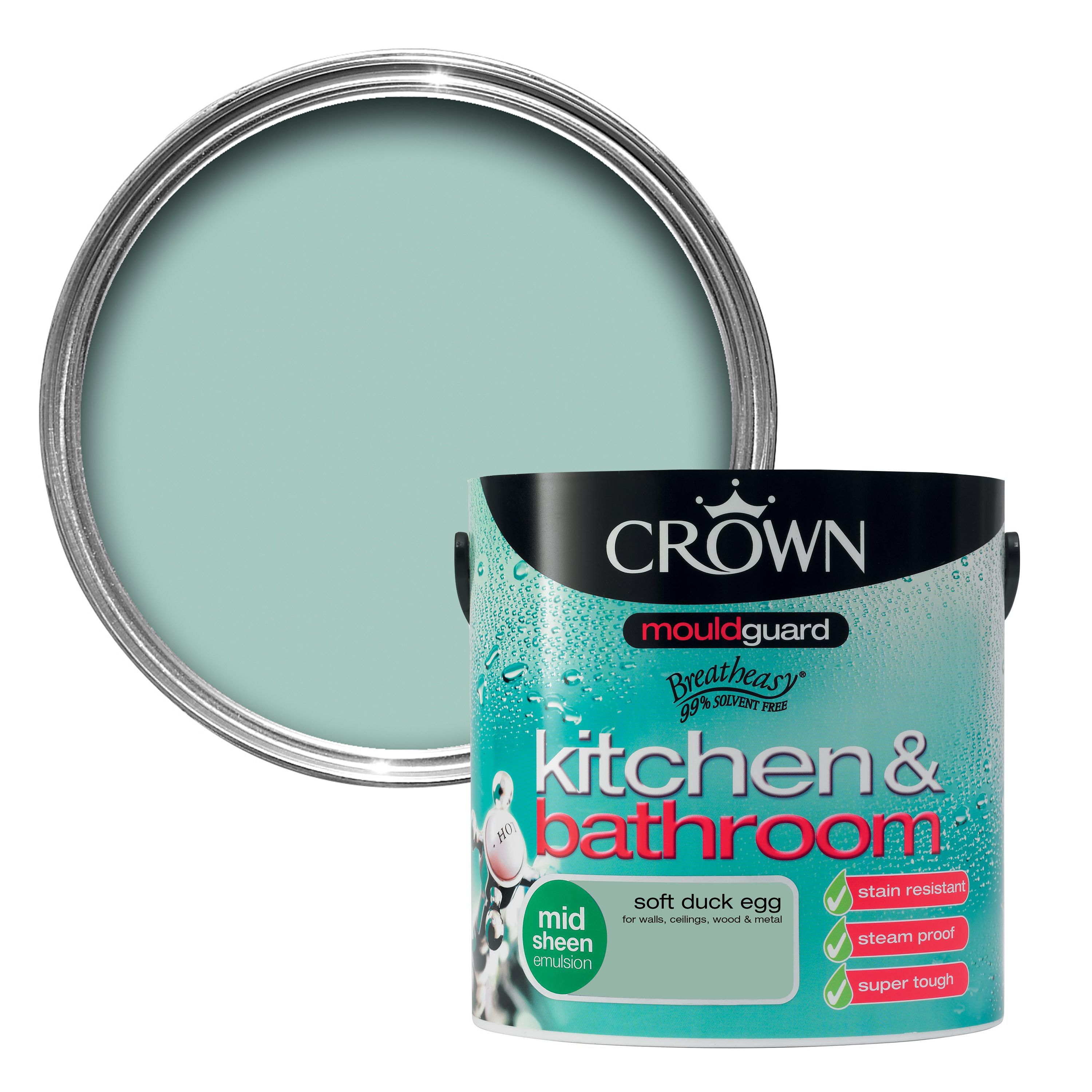 crown kitchen bathroom soft duck egg mid sheen emulsion. Black Bedroom Furniture Sets. Home Design Ideas