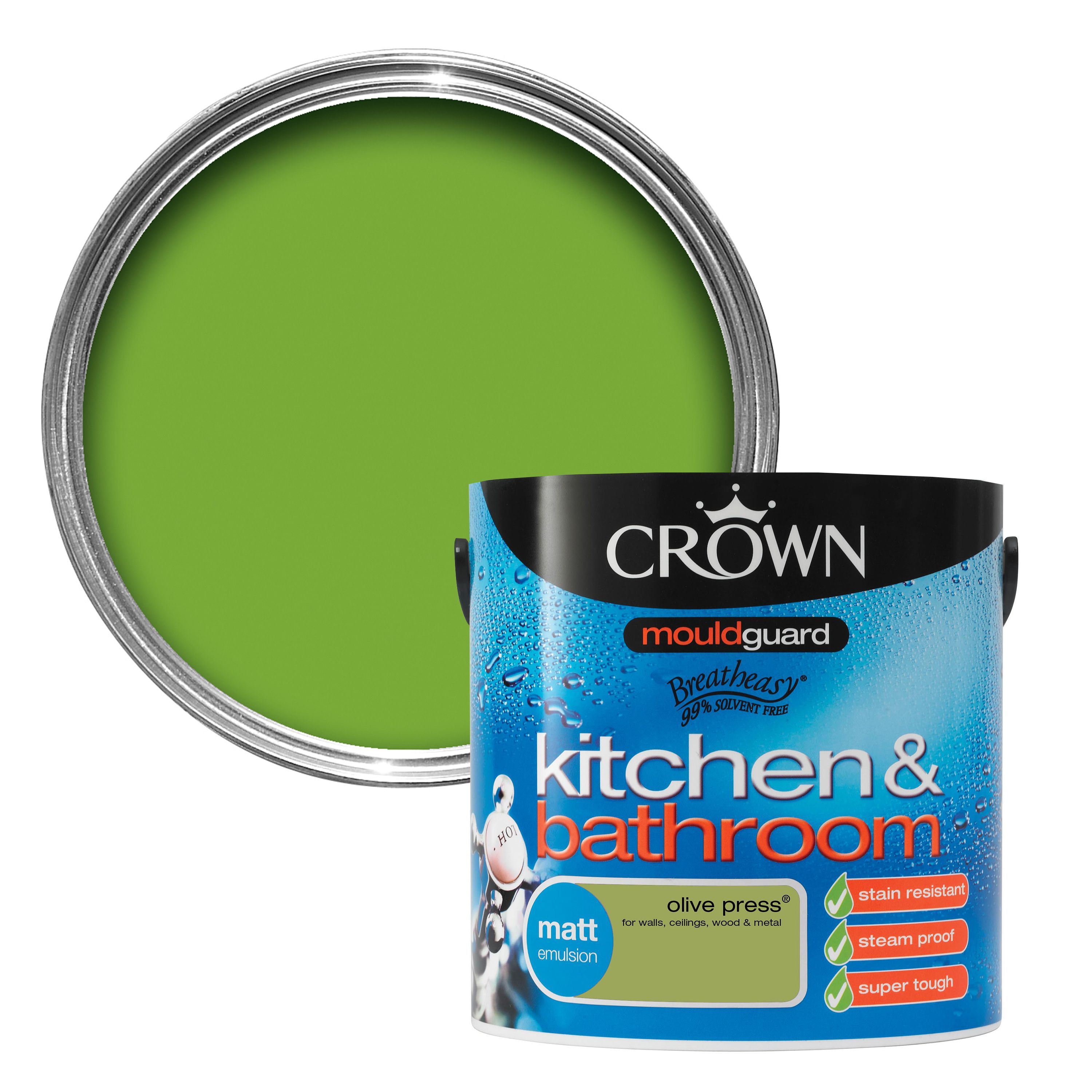 Crown Kitchen Bathroom Paint In Olive Press Green And: Crown Kitchen & Bathroom Olive Press Matt Emulsion Paint 2