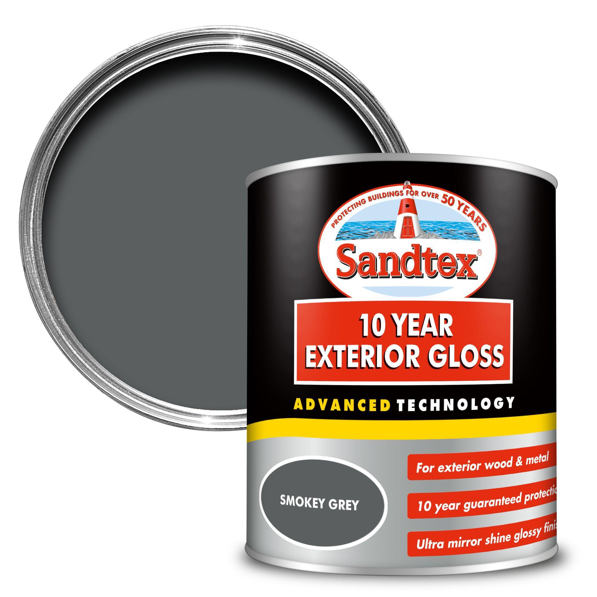 Sandtex 10 Year Smokey Grey High Gloss Metal Wood Paint 0 75 Departments Diy At B Q