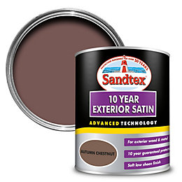 Sandtex 10 year Autumn chestnut Satin Paint 0.75L