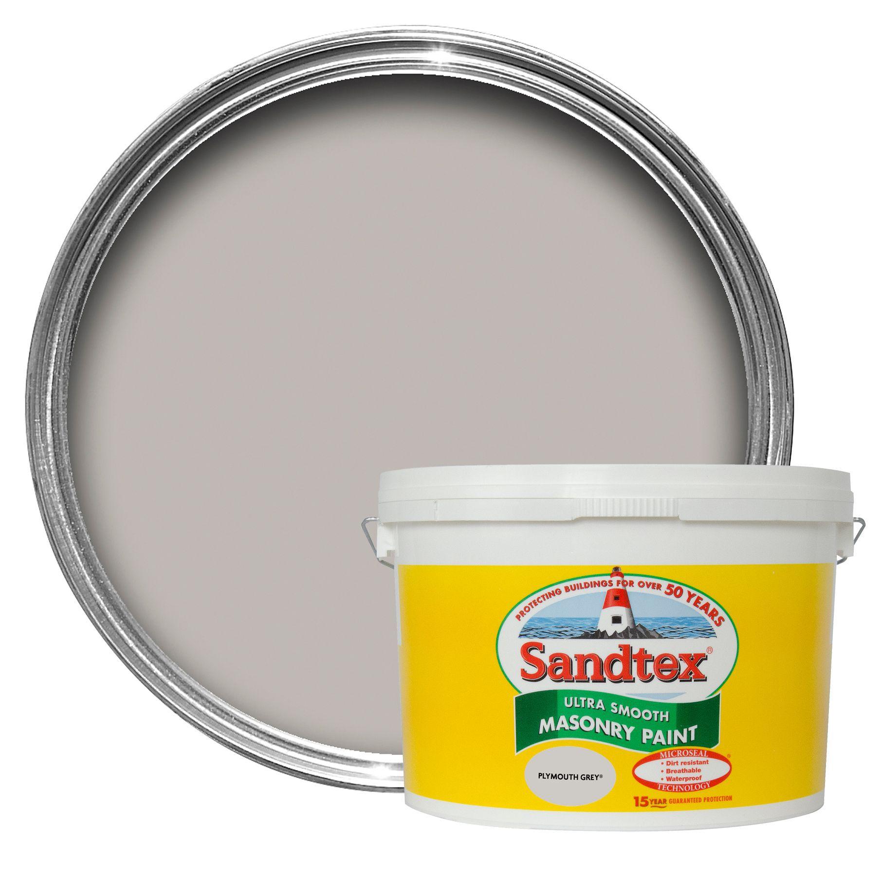 sandtex plymouth grey smooth smooth matt masonry paint 10l. Black Bedroom Furniture Sets. Home Design Ideas