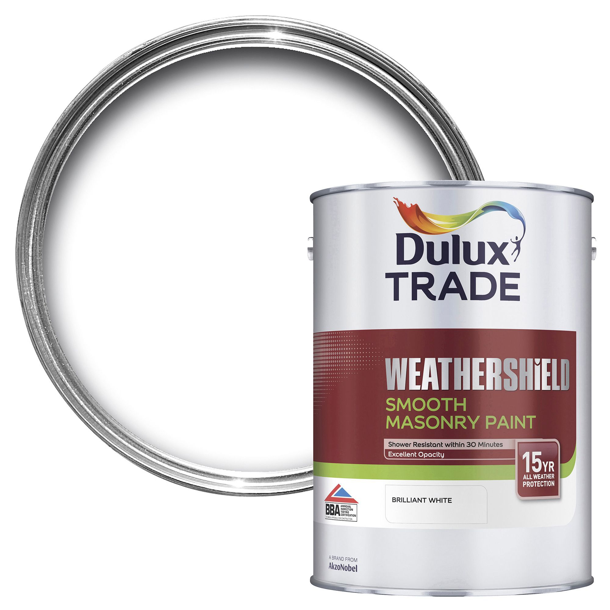Dulux Trade Weathershield Smooth Masonry Paint Pure Brilliant White L