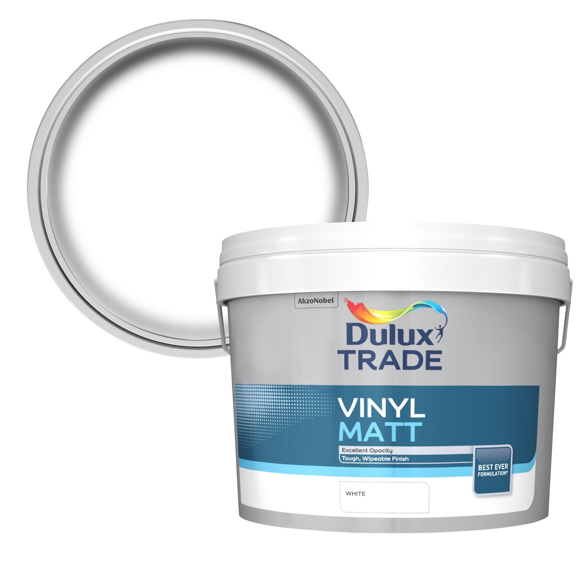 Dulux Trade White Matt Vinyl emulsion paint 10L | Departments | DIY at B&Q