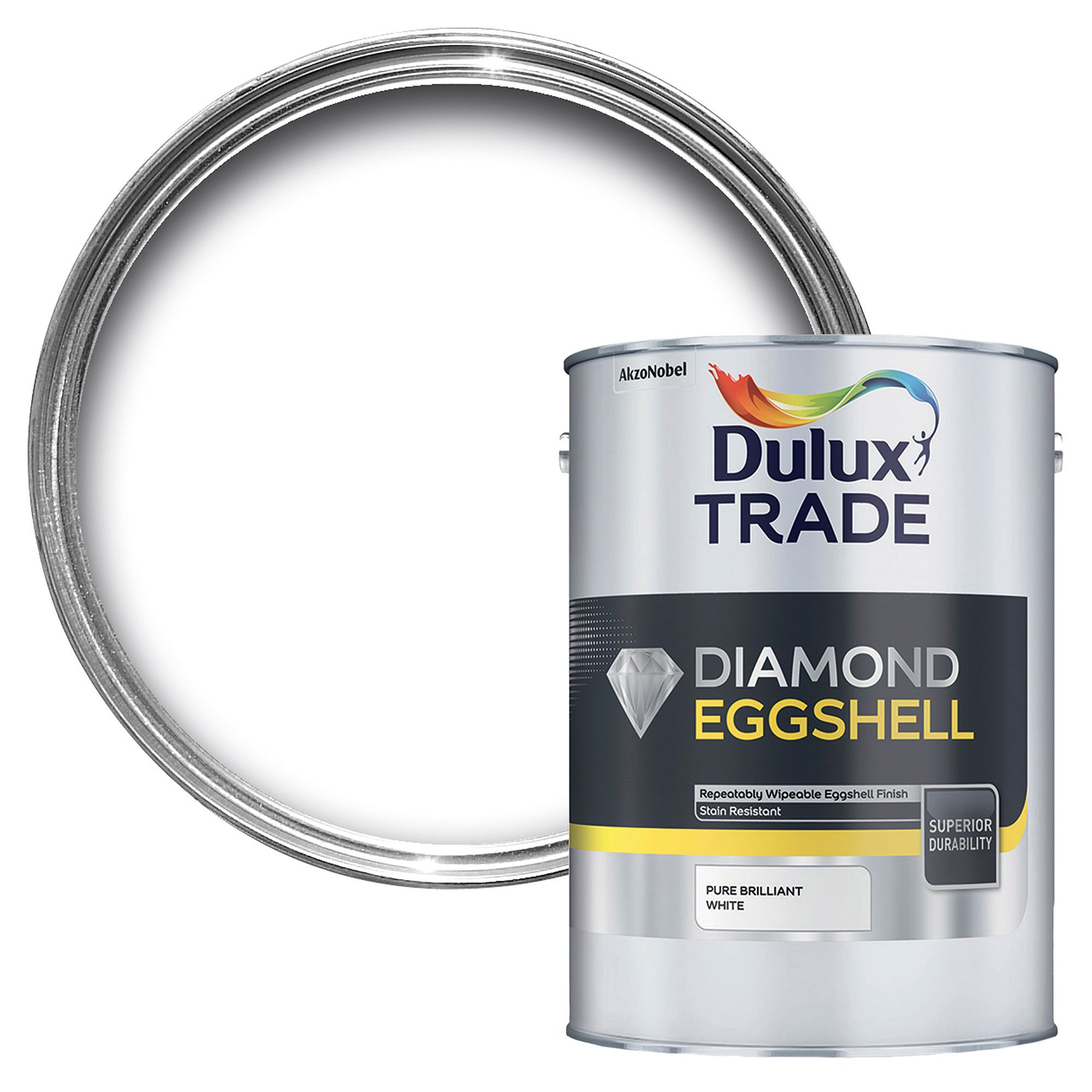Dulux Trade Diamond Brilliant white Eggshell Wood & metal paint 2 5L |  Departments | DIY at B&Q