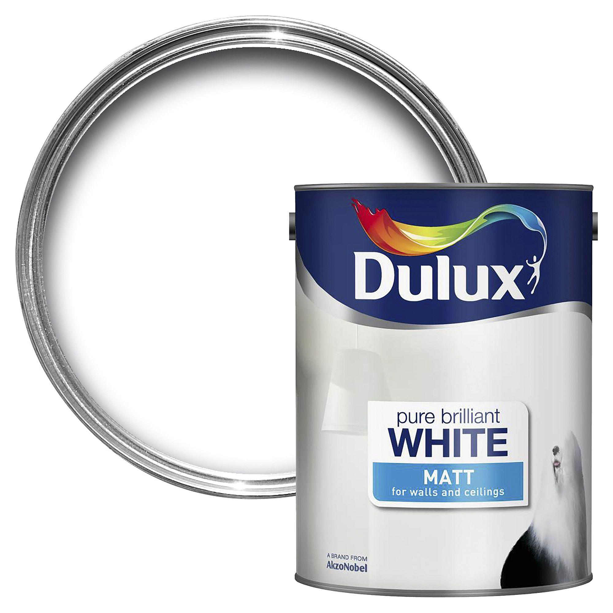 dulux pure brilliant white matt emulsion paint 5l. Black Bedroom Furniture Sets. Home Design Ideas